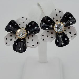 Avon Black & White Polka Dot Flower Clip Earrings